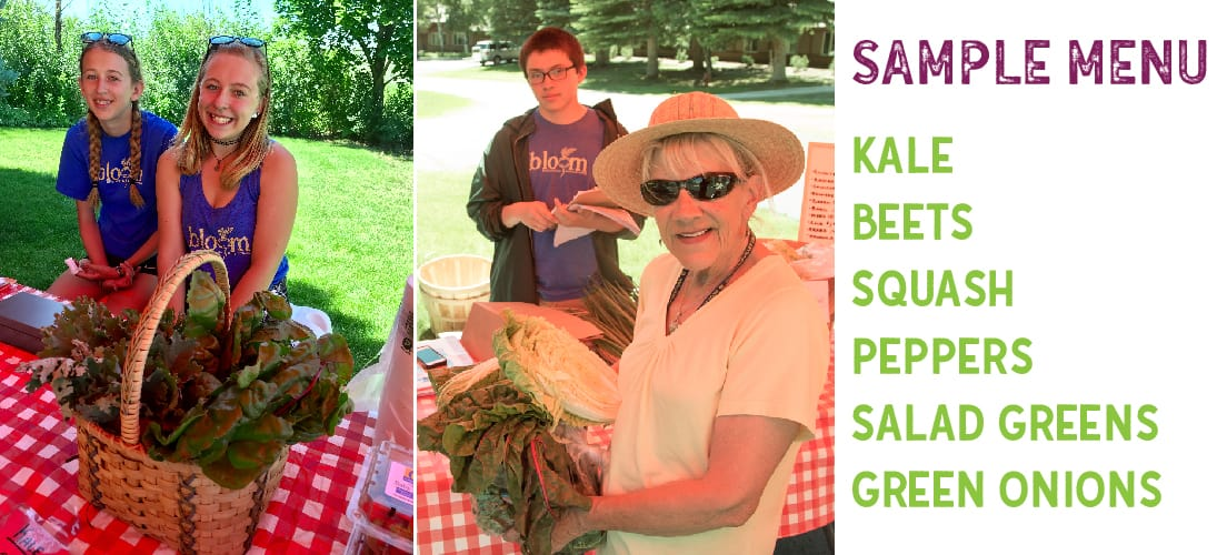 Teens sale veggies at a outdoor market with a red check table cloth. A patron in a straw hat smiles while holding a bundle of swiss chard.